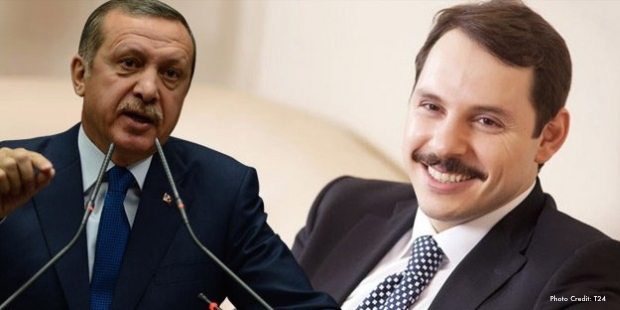 Recep Tayyip Erdogan and his son-in-law Berat Albayrak.