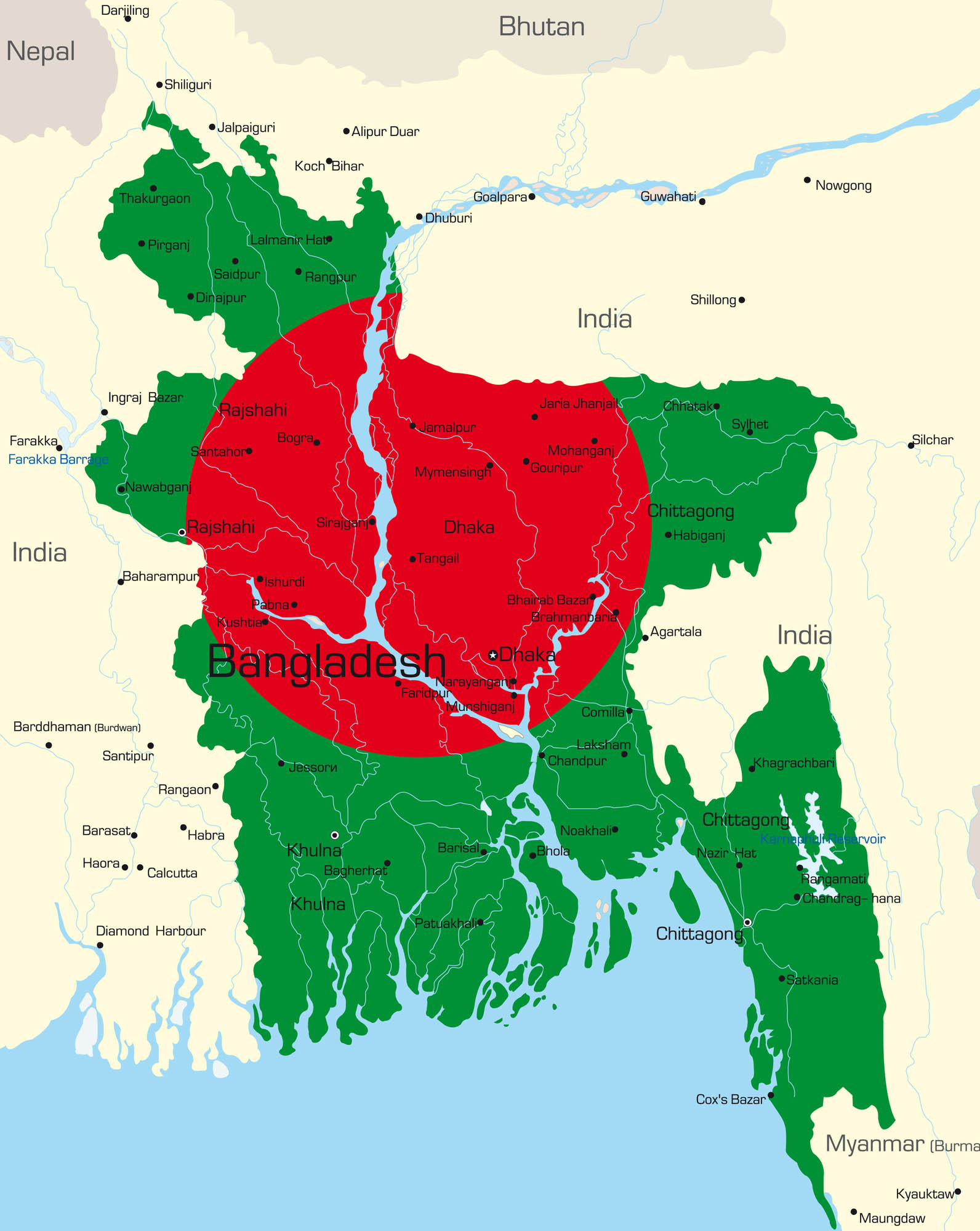 Bangladesh On Map Of Asia.Bangladesh Frontera