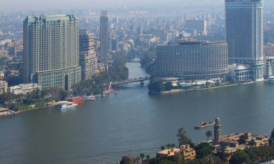 misty aerial view of Cairo and river Nile in Egypt