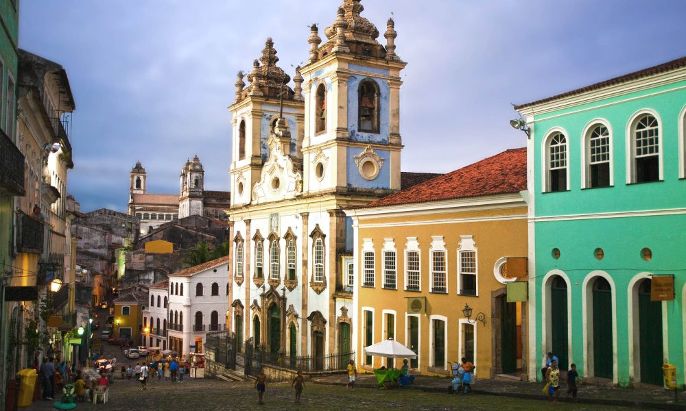 church or iglesias rosario dos pretos in pelourinho area in the beautiful city of salvador in bahia state brazil